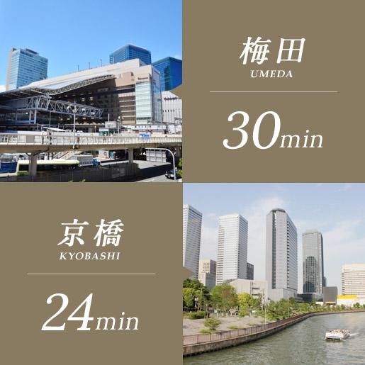 梅田30分、京橋24分