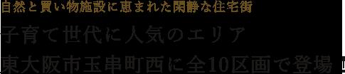 自然と買い物施設に恵まれた閑静な住宅街子育て世代に人気のエリア東大阪市玉串町西に全10区画で登場!