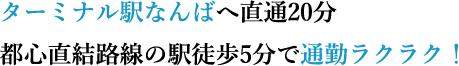ターミナル駅なんばへ直通20分都心直結路線の駅徒歩5分で通勤ラクラク!